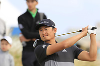 Haotong Li (CHN) tees off the 16th tee during Friday's Round 2 of the 2018 Dubai Duty Free Irish Open, held at Ballyliffin Golf Club, Ireland. 6th July 2018.<br /> Picture: Eoin Clarke | Golffile<br /> <br /> <br /> All photos usage must carry mandatory copyright credit (&copy; Golffile | Eoin Clarke)