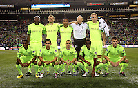 The starting 11 of the Seattle Sounders FC. The Seattle Sounders FC defeated the Columbus Crew 2-1 during the US Open Cup Final at Qwest Field in Seattle,WA, on October 5, 2010.