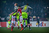 7th December 2017, Rajko Mitic Stadium, Belgrade, Serbia, UEFA Europa League football, Red Star Belgrade versus FC Cologne; Midfielder Damien Le Tallec of Red Star Belgrade in action against Forward Sehrou Guirassy of FC Koeln