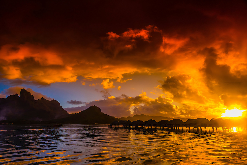 View from the Four Seasons Resort to the main island of Bora Bora (Mount Otemanu and Pahia, an extinct volcano), Society Islands, French Polynesia.