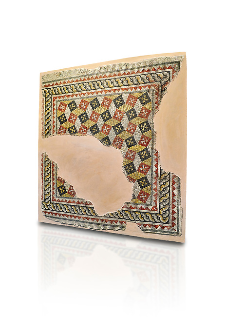 Roman mosaics - Geometric mosaic with 3d illusion. House of Oceanos, Ancient Zeugama, 2nd - 3rd century AD . Zeugma Mosaic Museum, Gaziantep, Turkey.  Against a white background.
