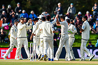 Black Caps celebrate during Day 3 of the Second International Cricket Test match, New Zealand V England, Hagley Oval, Christchurch, New Zealand, 1st April 2018.Copyright photo: John Davidson / www.photosport.nz