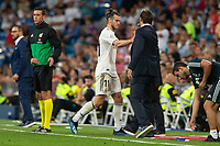 Gareth Bale and Julen Lpetegui of Real Madrid during the match between Real Madrid v Getafe CF of LaLiga, 2018-2019 season, date 1. Santiago Bernabeu Stadium. Madrid, Spain - 19 August 2018. Mandatory credit: Ana Marcos / PRESSINPHOTO