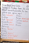 New York City preschool ages 3-5 class lesson board on occupations vertical