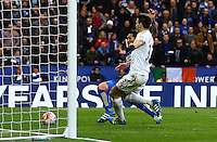 Leonardo Ulloa of Leicester City scores a goal to make the score 3-0 during the Barclays Premier League match between Leicester City and Swansea City played at The King Power Stadium, Leicester on 24th April 2016