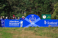 Celine Boutier (EUR) on the 17th tee during Day 3 Singles at the Solheim Cup 2019, Gleneagles Golf CLub, Auchterarder, Perthshire, Scotland. 15/09/2019.<br /> Picture Thos Caffrey / Golffile.ie<br /> <br /> All photo usage must carry mandatory copyright credit (© Golffile | Thos Caffrey)