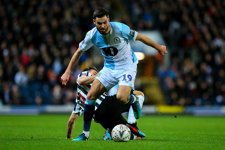 Blackburn Rovers' Ben Brereton gets past Newcastle United's Fabian Schar<br /> <br /> Photographer Alex Dodd/CameraSport<br /> <br /> Emirates FA Cup Third Round Replay - Blackburn Rovers v Newcastle United - Tuesday 15th January 2019 - Ewood Park - Blackburn<br />  <br /> World Copyright &copy; 2019 CameraSport. All rights reserved. 43 Linden Ave. Countesthorpe. Leicester. England. LE8 5PG - Tel: +44 (0) 116 277 4147 - admin@camerasport.com - www.camerasport.com