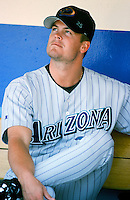 Matt Mantei of the Arizona Diamondbacks before a 1999 season Major League Baseball game against the Los Angeles Dodgers at Dodger Stadium in Los Angeles, California. (Larry Goren/Four Seam Images)