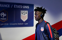 Lyon, France - Saturday June 09, 2018: Tim Weah during an international friendly match between the men's national teams of the United States (USA) and France (FRA) at Groupama Stadium.