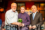 Martin Ferris and Mike O'Halloran who presented Shane Conway (Lixnaw) with the Young Player of the Year Trophy at the Kerry Hurling All-Stars  in The Abbey Tavern,Ardfert on Sunday night