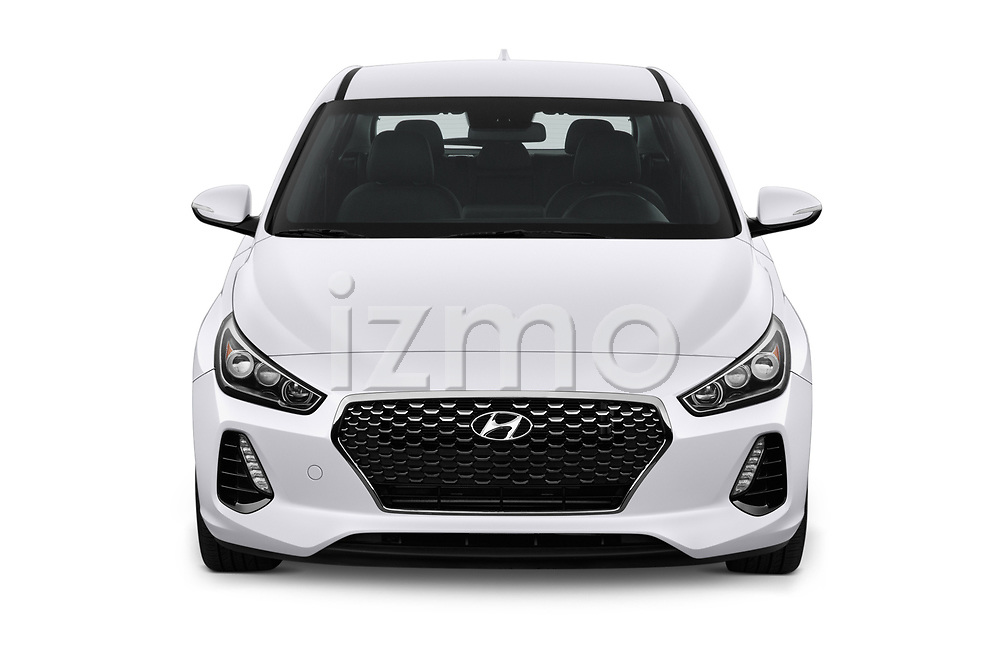 Car photography straight front view of a 2018 Hyundai Elantra GT GT Sport MT 5 Door Hatchback