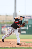 Elliot Morris #47 of the Lake Elsinore Storm pitches against the Lancaster JetHawks at The Hanger on August 2, 2014 in Lancaster, California. Lake Elsinore defeated Lancaster, 5-1. (Larry Goren/Four Seam Images)