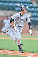Pulaski Yankees shortstop Hoy Jun Park (34) runs to first during a game against the Greeneville Astros on July 11, 2015 in Greeneville, Tennessee. The Yankees defeated the Astros 9-3. (Tony Farlow/Four Seam Images)