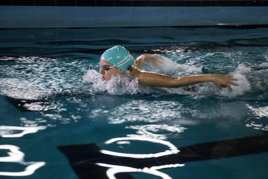 Rita Zequiri is Kosovo's top female swimmer. She trains at the pool her father built for her in the capital city, Prishtina. PHOTO BY JODI HILTON