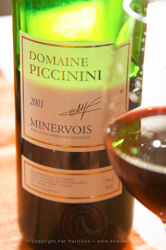 Red wine 2001. Domaine Piccinini in La Liviniere Minervois. Languedoc. France. Europe. Bottle. Wine glass.