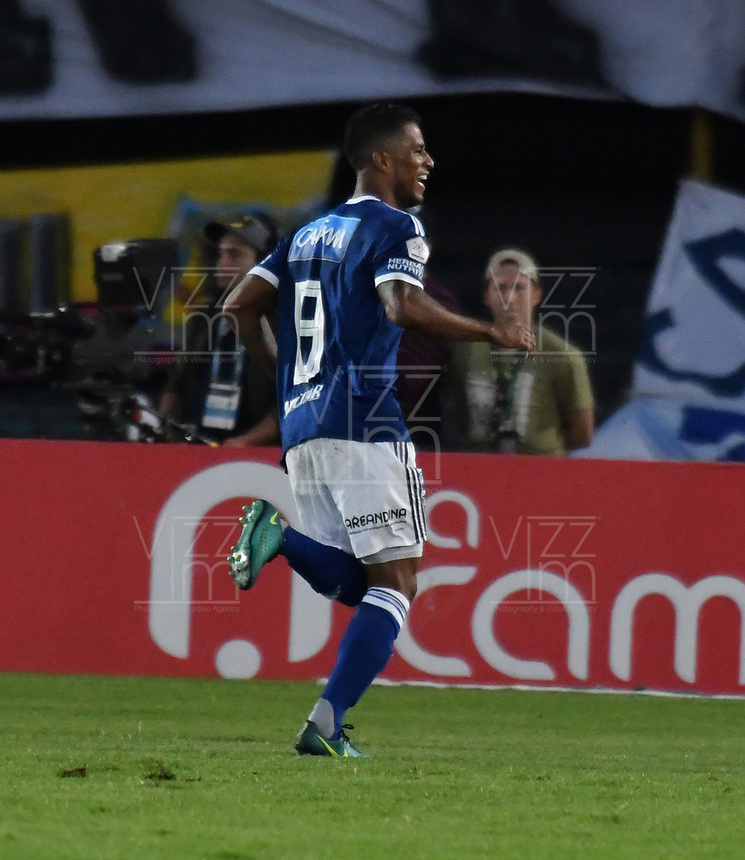 BOGOTA - COLOMBIA - 01 – 04 - 2018: Cesar Carrillo, jugador de Millonarios, celebra después de anotar el primer gol de su equipo, durante partido de la fecha 12 entre Millonarios y Atletico Bucaramanga, por la Liga Aguila I 2018, jugado en el estadio Nemesio Camacho El Campin de la ciudad de Bogota. / Cesar Carrillo, player of Millonarios celebrates after scoring the first goal of his team, during a match of the 12th date between Millonarios and Atletico Bucaramanga,  for the Liga Aguila I 2018 played at the Nemesio Camacho El Campin Stadium in Bogota city, Photo: VizzorImage / Luis Ramirez / Staff.