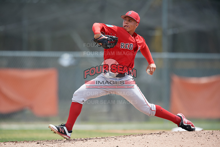 Boston Red Sox pitcher Oddanier Mosqueda (81) during a Minor League Spring Training game against the Baltimore Orioles on March 20, 2018 at Buck O'Neil Complex in Sarasota, Florida.  (Mike Janes/Four Seam Images)