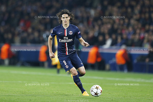 Edinson Cavani (PSG), NOVEMBER 25, 2014 - Football / Soccer : UEFA Champions League Group F match between Paris Saint-Germain 3-1 AFC Ajax at the Parc des Princes Stadium in Paris, France. (Photo by Mutsu Kawamori/AFLO) [3604]