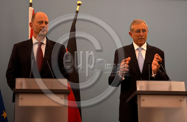 "BERLIN - GERMANY 29. JUNE 2007 -- Wolfgang TIEFENSEE, minister of transport in Germany and Flemming HANSEN, minister of transport in Denmark in a press conference about the Femern connection, just ten minuttes after they came to a compromise on the finances on the construction. The bridge connecting Lolland in Denmark and Puttgarten in Germany from year 2018 -- PHOTO: CHRISTIAN T. JOERGENSEN / EUP & IMAGES....This image is delivered according to terms set out in ""Terms - Prices & Terms"". (Please see www.eup-images.com for more details)"