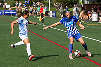 Allston, MA - Saturday August 19, 2017: Marta Vieira Da Silva, Amanda Frisbie during a regular season National Women's Soccer League (NWSL) match between the Boston Breakers and the Orlando Pride at Jordan Field.