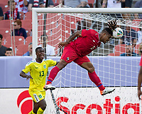 CLEVELAND, OH - JUNE 22: Roman Torres #5 heads the ball during a game between Panama and Guyana at FirstEnergy Stadium on June 22, 2019 in Cleveland, Ohio.