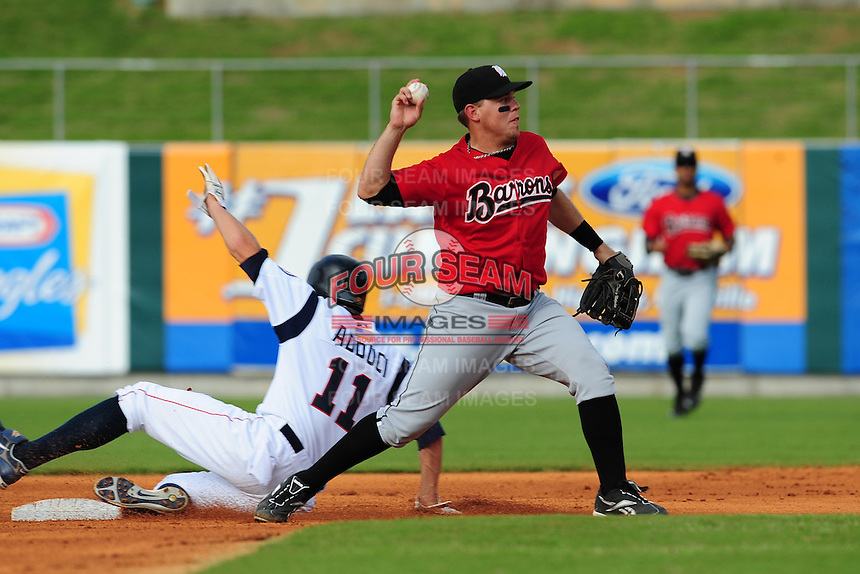 C.J. Retherford turns a double play at Smokies Park May 21, 2009  in Sevierville, TN (Photo by Tony Farlow/ Four Seam Images)