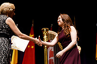 Woojin Lee from South Korea receives the Dr. Konrad William Rinne and Dr. Erzsebet Gaal Rinne Prize (fifth prize) during the awards ceremony of the 11th USA International Harp Competition at Indiana University in Bloomington, Indiana on Saturday, July 13, 2019. (Photo by James Brosher)