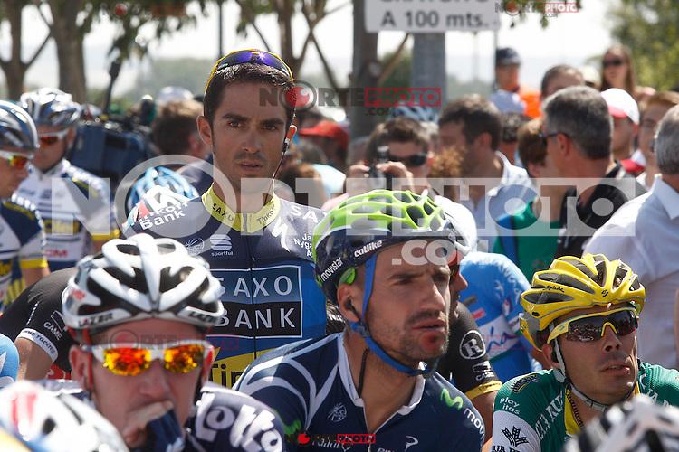 Alberto Contador (t) and Juan Jose Cobo (d) during the stage of La Vuelta 2012 between Huesca and Motorland Aragon (Alcaniz).August 24,2012. (ALTERPHOTOS/Paola Otero) /NortePhoto.com<br /> <br /> **CREDITO*OBLIGATORIO** *No*Venta*A*Terceros*<br /> *No*Sale*So*third* ***No*Se*Permite*Hacer Archivo***No*Sale*So*third*