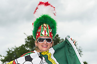 Mexico's team fan Juana Olivia wears head gear to support her team before an international friendly, Wednesday, April 15, 2015 in San Antonio, Tex. (Mo Khursheed/TFV Media via AP Images)