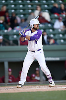 First baseman John Michael Boswell (8) of the Furman Paladins bats in a game against the South Carolina Gamecocks on Tuesday, March 19, 2019, at Fluor Field at the West End in Greenville, South Carolina. South Carolina won, 12-7. (Tom Priddy/Four Seam Images)