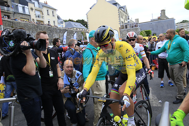 Race leader Yellow Jersey Peter Sagan (SVK) Tinkoff makes his way to sign on before the start of Stage 3 of the 2016 Tour de France, running 223.5km from Granville to Angers, France . 4th July 2016.<br /> Picture: Eoin Clarke | Newsfile<br /> <br /> <br /> All photos usage must carry mandatory copyright credit (&copy; Newsfile | Eoin Clarke)