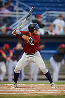 Mahoning Valley Scrappers first baseman Ulysses Cantu (8) at bat during the first game of a doubleheader against the Batavia Muckdogs on August 28, 2017 at Dwyer Stadium in Batavia, New York.  Mahoning Valley defeated Batavia 6-3.  (Mike Janes/Four Seam Images)