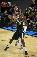 Michigan State Spartans forward Delvon Roe #10 takes a pass during the second round game of the NCAA Basketball Tournament at St. Pete Times Forum on March 17, 2011 in Tampa, Florida.  UCLA defeated Michigan State 78-76.  (Mike Janes/Four Seam Images)