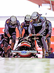19 December 2010: Maximilian Arndt leads his 4-Man Bobsled team in the push-off, taking 2nd place for Germany at the Viessmann FIBT World Cup Championships on Mount Van Hoevenberg in Lake Placid, New York, USA. Mandatory Credit: Ed Wolfstein Photo