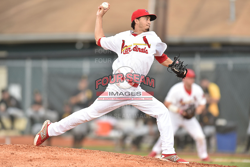 Johnson City Cardinals starting pitcher Dailyn Martinez #19 delivers a pitch during a game against the Bristol Pirates at Howard Johnson Field July 20, 2014 in Johnson City, Tennessee. The Pirates defeated the Cardinals 4-3. (Tony Farlow/Four Seam Images)