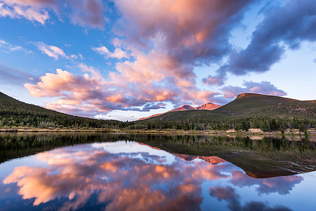 sunrise sky at Lily Lake on a late summer morning in Rcoky Mountain National Park, Colorado, USA