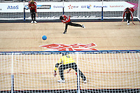 7.09.2012 London, England. Tuncay Karakaya (TUR) throws the ball during the Bronze medal match of the Men's Goalball between Turkey and Lithuania during Day 9 of the London Paralympics from the Copper Box
