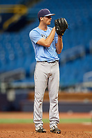 Tanner Dodson (6) looks in for the sign during the Tampa Bay Rays Instructional League Intrasquad World Series game on October 3, 2018 at the Tropicana Field in St. Petersburg, Florida.  (Mike Janes/Four Seam Images)