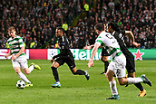 12th September 2017, Glasgow, Scotland; Champions League football, Glasgow Celtic versus Paris Saint Germain; NEYMAR JR (psg) drives past Stuart Armstrong (cel)