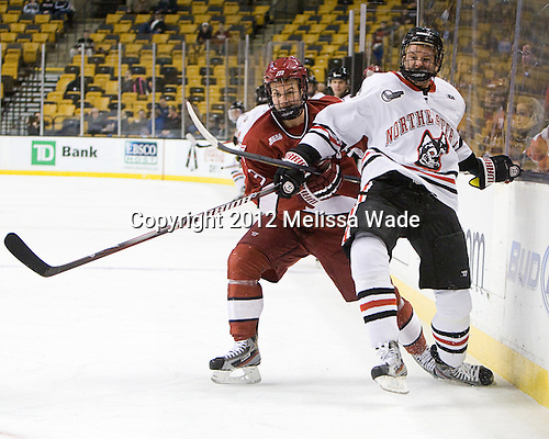 Danny Biega (Harvard - 9), Ludwig Karlsson (Northeastern - 45) - The Harvard University Crimson defeated the Northeastern University Huskies 3-2 in the 2012 Beanpot consolation game on Monday, February 13, 2012, at TD Garden in Boston, Massachusetts.
