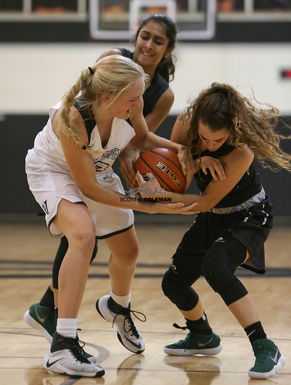 Vandegrift Vipers guard Jen Moore (12) wrestles for a rebound during a girls high school basketball game between the Vandegrift Vipers and the Cedar Park Timberwolves at Vandegrift High School in Austin, Texas on November 14, 2017.