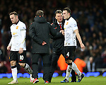 Manchester United's Louis Van Gaal congratulates Phil Jones at the final whistle<br /> <br /> Barclays Premier League- West Ham United vs Manchester United  - Upton Park - England - 8th February 2015 - Picture David Klein/Sportimage