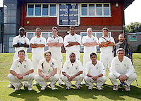 Hornsey cricket team pose for a photo during the Middlesex County Cricket League Division Two game between Hornsey and Harrow Town at Tivoli Road, Crouch End on Sat Sept 3, 2011