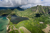 An aerial view of the Moli'i Fishpond, Kualoa Ranch, Windward O'ahu.