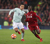 Liverpool's Naby Keita under pressure from Bayern Munich's Thiago Alcantara<br /> <br /> Photographer Rich Linley/CameraSport<br /> <br /> UEFA Champions League Round of 16 First Leg - Liverpool and Bayern Munich - Tuesday 19th February 2019 - Anfield - Liverpool<br />  <br /> World Copyright © 2018 CameraSport. All rights reserved. 43 Linden Ave. Countesthorpe. Leicester. England. LE8 5PG - Tel: +44 (0) 116 277 4147 - admin@camerasport.com - www.camerasport.com