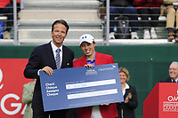 Matthew Fitzpatrick (ENG), pictured with CEO Credit Suisse Christophe Bonjour, wins the tournament after a 3 hole playoff at the  end of Sunday's Final Round of the 2017 Omega European Masters held at Golf Club Crans-Sur-Sierre, Crans Montana, Switzerland. 10th September 2017.<br /> Picture: Eoin Clarke | Golffile<br /> <br /> <br /> All photos usage must carry mandatory copyright credit (&copy; Golffile | Eoin Clarke)