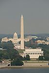 Washington DC USA: The Washington Monument, Lincoln Memorial, and Capitol, as seen from Arlington, VA.Photo copyright Lee Foster.Photo # 2-washdc82819