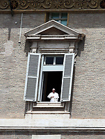 Pope Francis looks on from the window of the Apostolic Palace overlooking an empty St Peter' square, closed off to the public due to the novel coronavirus, COVID-19, pandemic, after his live-streamed Angelus prayer on May 10, 2020 at the Vatican. <br /> UPDATE IMAGES PRESS/Isabella Bonotto<br /> <br /> STRICTLY ONLY FOR EDITORIAL USE