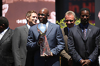 SAN FRANCISCO, CA - Members of the Super Bowl teams who played for coach Bill Walsh, including Jerry Rice, Joe Montana, and Steve Young, gather with their three trophys at the public memorial service for former San Francisco 49ers head coach Bill Walsh at Candlestick Park (Monster Park) in San Francisco, California on August 10, 2007. Photo by Brad Mangin
