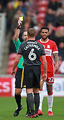 5th November 2017, Riverside Stadium, Middlesbrough, England; EFL Championship football, Middlesbrough versus Sunderland; Lee Cattermole of Sunderland is shown the yellow card for a foul on Marcus Tavernier